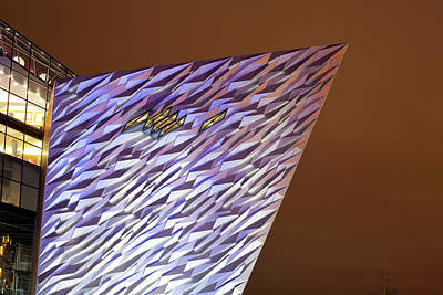 County Antrim Photograph - Monument At Night, Titanic Belfast by Panoramic Images