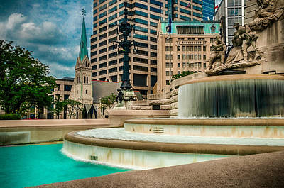 Photograph - Monument Circle Fountain I by Gene Sherrill