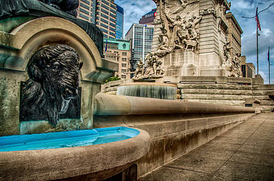 Photograph - Monument Circle Fountain II by Gene Sherrill