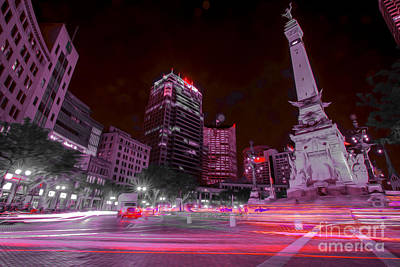 Photograph - Monument Circle Indianapolis Light Streaks No Yellow by David Haskett