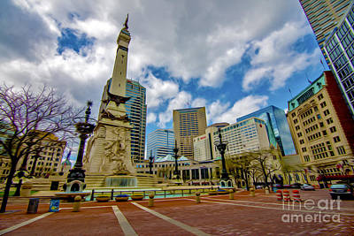 Photograph - Monument Circle Indianapolis Wide by David Haskett