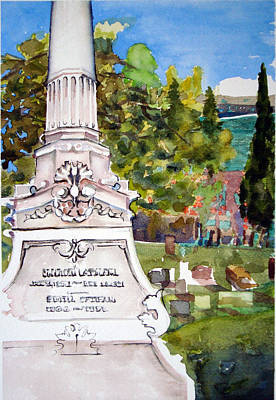 Gravesite Painting - Monument by Karen Coggeshall