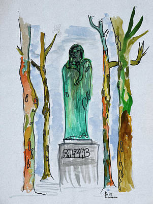 Monument To Balzac Statue By Rodin Art Print