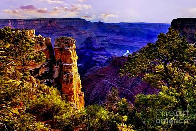 Grandview Digital Art - Monument To Grand Canyon  by Bob and Nadine Johnston