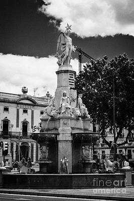 Genio Photograph - Monument To The Marquis Of Campo Sagrado Fuente Del Genio Catalan Barcelona Catalonia Spain by Joe Fox