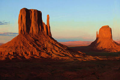 Peaceful Landscape Painting - Monument Valley 2 by Inspirowl Design