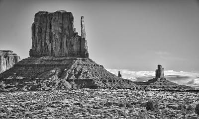 Art Print featuring the photograph Monument Valley 3 Bw by Ron White
