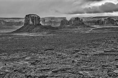 Art Print featuring the photograph Monument Valley 4 Bw by Ron White
