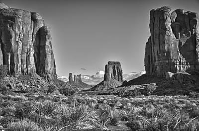 Art Print featuring the photograph Monument Valley 8 Bw by Ron White