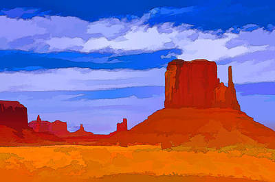 Photograph - Monument Valley 3 - West Mitten Photopainting by Allen Beatty