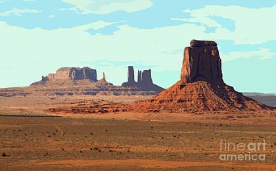 Monument Valley Arizona Red Sandstone Monoliths Rising Up Above Desert Floor Cutout Digital Art Art Print by Shawn O'Brien