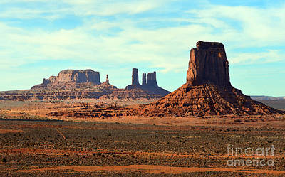 Digital Art - Monument Valley Arizona Red Sandstone Monoliths Rising Up Above Desert Floor Watercolor Digital Art by Shawn O'Brien