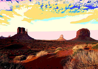 Desert Sunset Mixed Media - Monument Valley by Charles Shoup