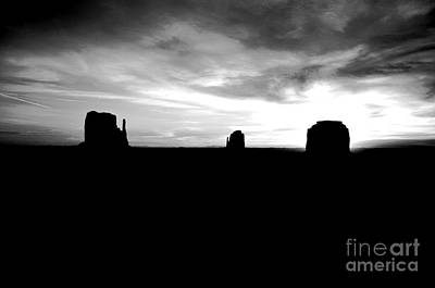 Digital Art - Monument Valley Desert Sunrise And Butte Silhouettes Black And White Conte Crayon Digital Art by Shawn O'Brien