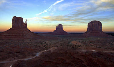 Dramatic Digital Art - Monument Valley Just After Sunset by Mike McGlothlen
