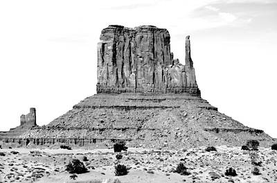 Digital Art - Monument Valley Mitten Monolith Scenic Landscape Black And White Conte Crayon Digital Art by Shawn O'Brien