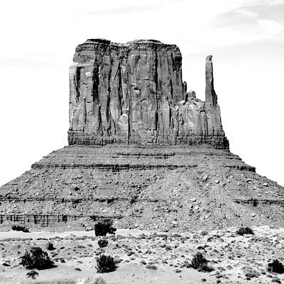 Digital Art - Monument Valley Mitten Monolith Scenic Landscape Black And White Square Conte Crayon Digital Art by Shawn O'Brien