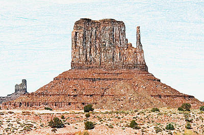 Digital Art - Monument Valley Mitten Monolith Scenic Landscape Colored Pencil Digital Art by Shawn O'Brien