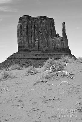 Scenic Landscape Photograph - Monument Valley Mitten Monolith Scenic Landscape Vertical Black And White by Shawn O'Brien