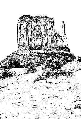 Digital Art - Monument Valley Mitten Monolith Scenic Landscape Vertical Black And White Stamp Digital Art by Shawn O'Brien