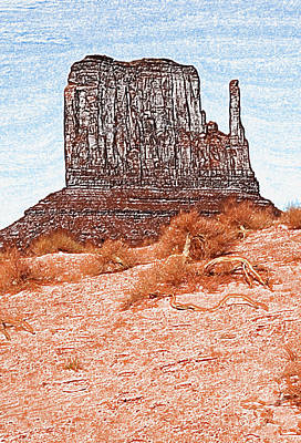Digital Art - Monument Valley Mitten Monolith Scenic Landscape Vertical Colored Pencil Digital Art by Shawn O'Brien