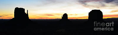 Monument Valley Morning Twilight And Butte Silhouettes Panoramic Art Print by Shawn O'Brien