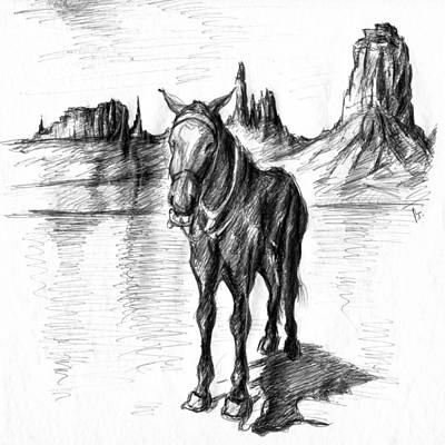 Drawing - Monument Valley Mule - Western Art by Peter Potter