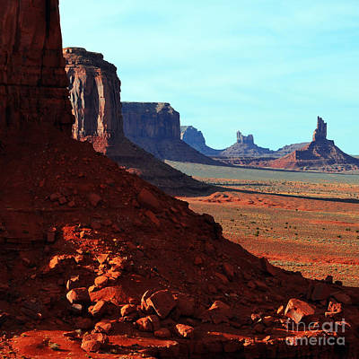 Great Outdoors Photograph - Monument Valley Red Sandstone Buttes In Profile Square Format by Shawn O'Brien