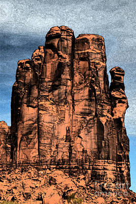 Digital Art - Monument Valley Red Sandstone Formation The Hand Fresco Digital Art by Shawn O'Brien
