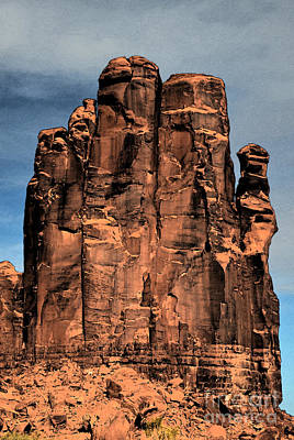 Digital Art - Monument Valley Red Sandstone Formation The Hand Watercolor Digital Art by Shawn O'Brien