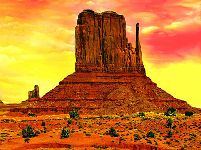 Monument Valley Right Mitten Sunrise Painting Original by Bob and Nadine Johnston
