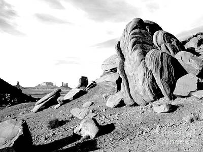 Digital Art - Monument Valley Sandstone Boulders Scenic Black And White Conte Crayon Digital Art by Shawn O'Brien