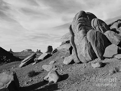 Great Outdoors Photograph - Monument Valley Sandstone Boulders Scenic Black And White by Shawn O'Brien