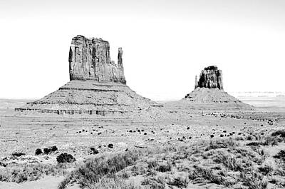 Photograph - Monument Valley Sanstone Monoliths Aka The Mittens Black And White Conte Crayon Digital Art by Shawn O'Brien