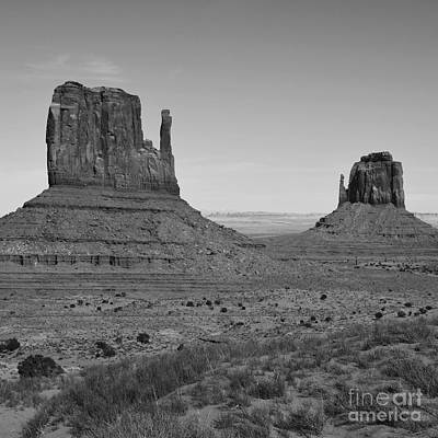 National Parks Photograph - Monument Valley Sandstone Monoliths Aka The Mittens Black And White Square Format by Shawn O'Brien