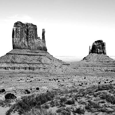 Digital Art - Monument Valley Sandstone Monoliths Aka The Mittens Bw Conte Crayon Digital Art Square Format by Shawn O'Brien
