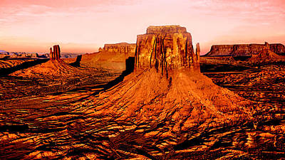 Grand Canyon Mixed Media - Monument Valley Sunset by Bob and Nadine Johnston