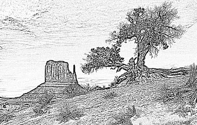 Digital Art - Monument Valley Tree And Monolith Scenic Landscape Black And White Digital Art by Shawn O'Brien