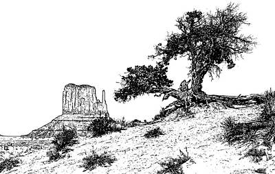 Digital Art - Monument Valley Tree And Monolith Scenic Landscape Black And White Stamp Digital Art by Shawn O'Brien