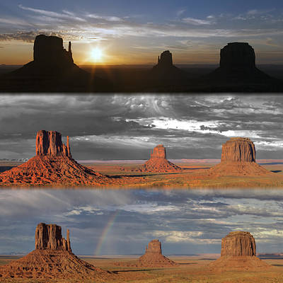 Monument Valley Triptych Art Print by Patrick Jacquet