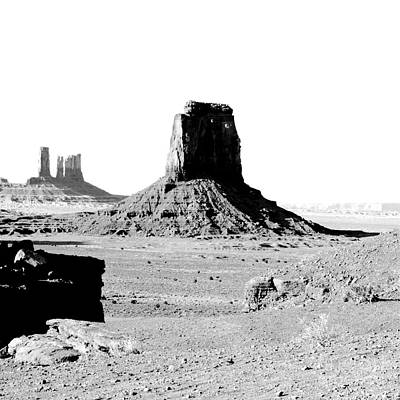 Digital Art - Monument Valley Utah Sanstone Butte Rising Up Above Desert Bw Square Format Conte Crayon Digital Art by Shawn O'Brien