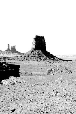 Digital Art - Monument Valley Utah Sanstone Butte Rising Up Above Desert Plain Bw Conte Crayon Digital Art by Shawn O'Brien