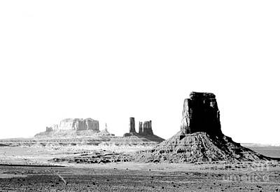 Digital Art - Monument Valley Utah Sanstone Monoliths Rising Up Above Desert Floor Bw Conte Crayon Digital Art by Shawn O'Brien