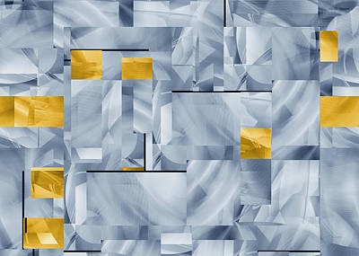 Digital Art - Monumental Abstract With Gold by rd Erickson