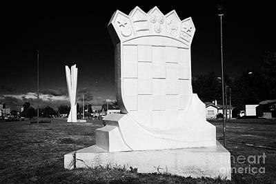 Yugoslavian Photograph - monumento al inmigrante croata croatian immigration monument in front of yugoslavian monument Punta Arenas Chile by Joe Fox