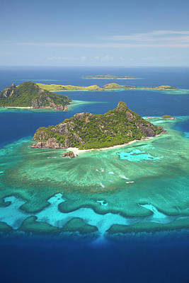 Monuriki Island And Coral Reef Print by David Wall