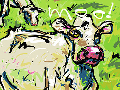 Cattle Drive Drawing - Moo by Brett LaGue