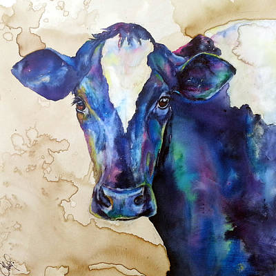 Art Print featuring the painting Moo by Christy  Freeman