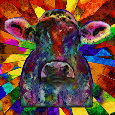 Computer Art Painting - Moo Cow With Color by Jack Zulli
