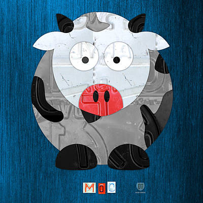 Handmade Mixed Media - Moo The Cow License Plate Art by Design Turnpike